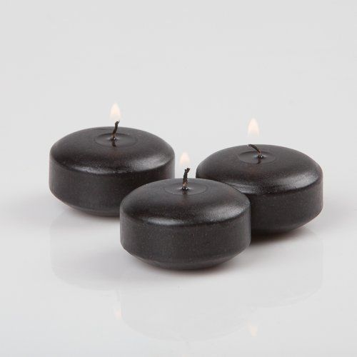 "2"" Black Floating Candles. Set of 3 Candles-Unscented"