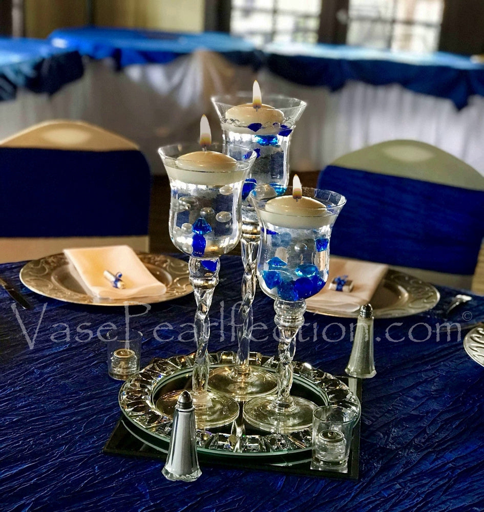 No Hole Royal Blue Diamond Gems - Jumbo and Assorted Sizes Vase Decorations and Table Scatter