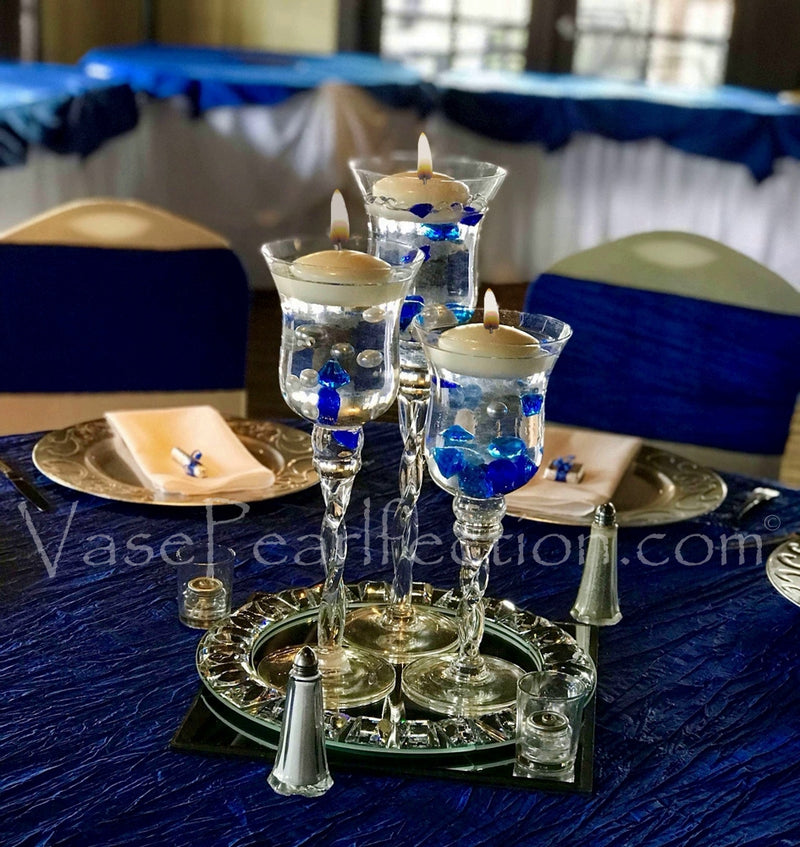 Royal Blue Diamond Gems - No Hole Jumbo and Assorted Sizes Vase Decorations and Table Scatter