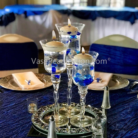 120 Royal Blue Gems & White Pearls - No Hole Jumbo/Assorted Sizes Vase Decorations and Table Scatter