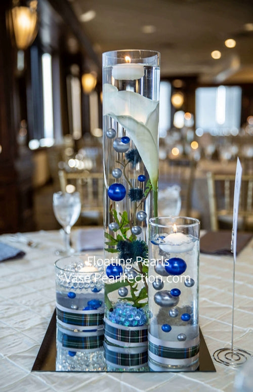 Royal Blue (Bright Navy) & Silver Pearls - No Hole Jumbo/Assorted Sizes Vase Decorations