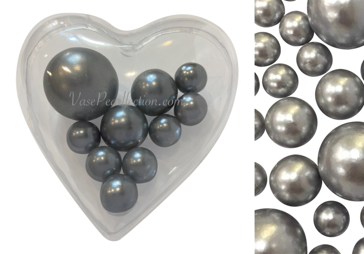 Floating Big Heart Submersible with Your Choice of Pearls color- Vase Decorations