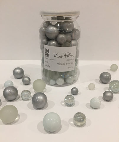 *Clearance* No Hole 80 Silver Themed Glass Marbles - Jumbo/Assorted Sizes Vase Fillers for Decorating Centerpieces