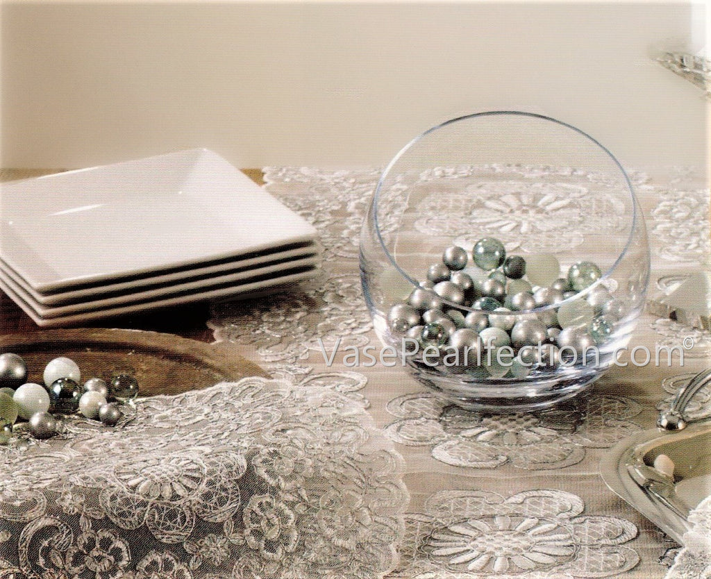 *Clearance* 80 Silver Themed Glass Marbles - No Hole Jumbo/Assorted Sizes Vase Fillers for Decorating Centerpieces