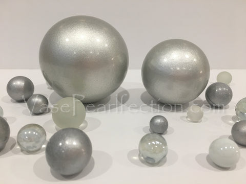 No Hole Silver Extra Jumbo Ceramic Sphere - Assorted Sizes Vase Fillers for Decorating Centerpieces