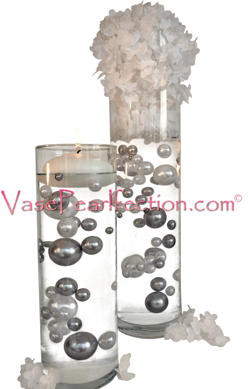 No Hole Silver Pearls - Jumbo/Assorted Sizes Vase Decorations