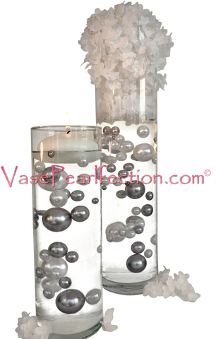 NO HOLE Silver & White Pearls - Jumbo/Assorted Sizes Vase Decorations
