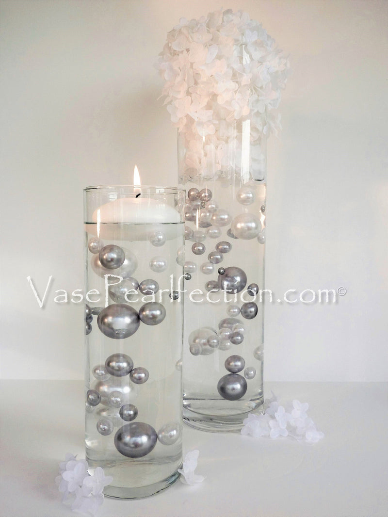 Floating Silver Pearls - No Hole Jumbo/Assorted Sizes Vase Decorations