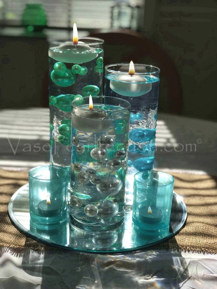 120 Blue Turquoise Pearls with Sparkling Gems Accents - No Hole Jumbo/Assorted Sizes Vase Decorations and Table Scatters