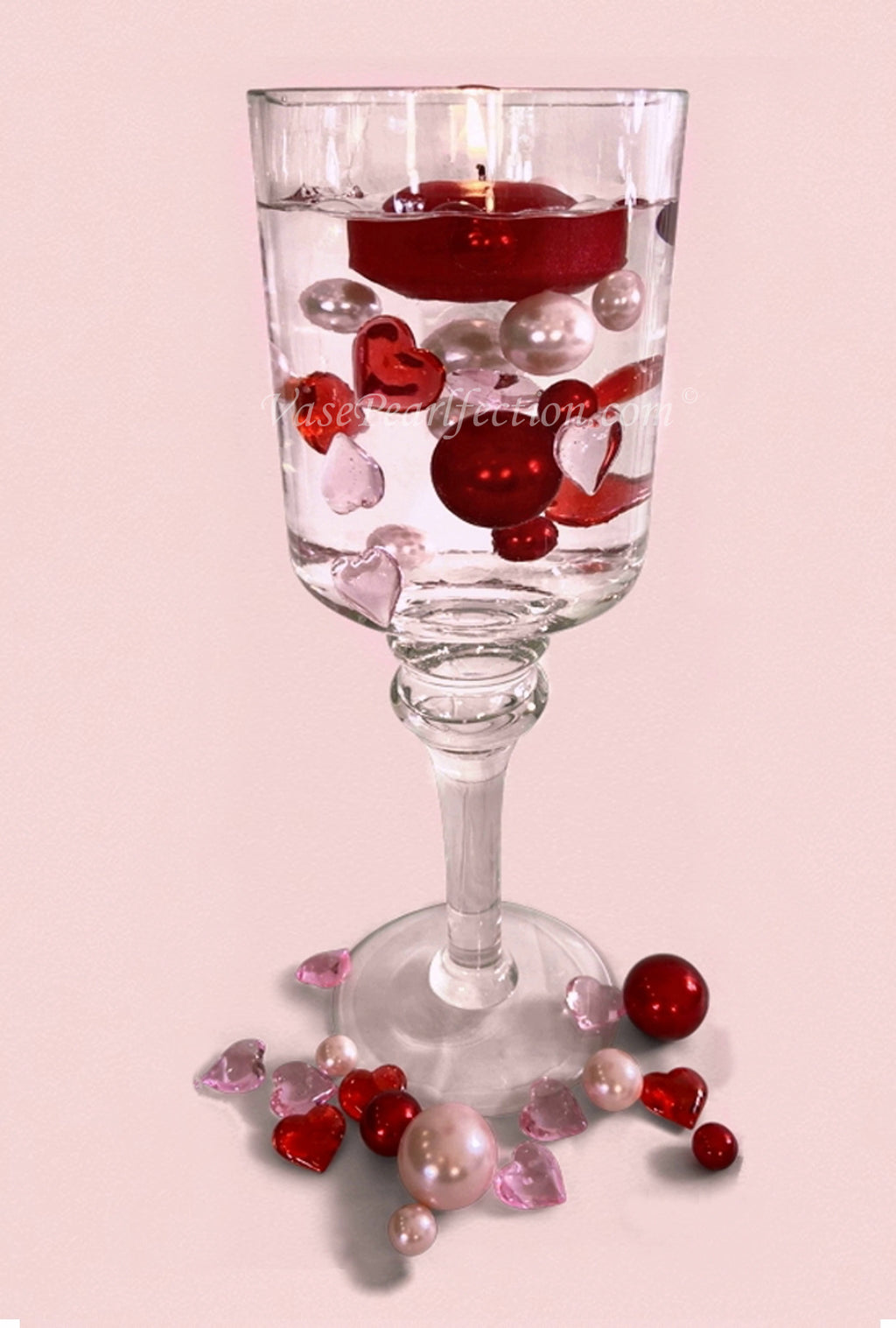 Floating Valentine No Hole Red & Light Pink Pearls with Matching Heart Gems - Jumbo/Assorted Sizes Vase Fillers for Vase Decorations and Table Scatter