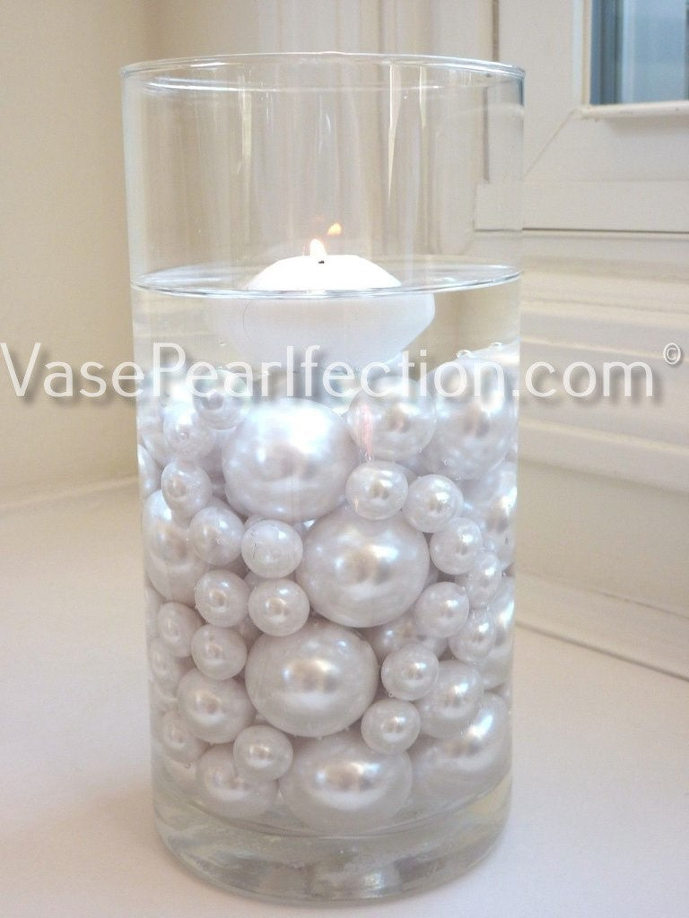 120 Floating No Hole White Pearls & Sparkling Gem Accents - Jumbo/Assorted Sizes Vase Decorations and Table Scatter