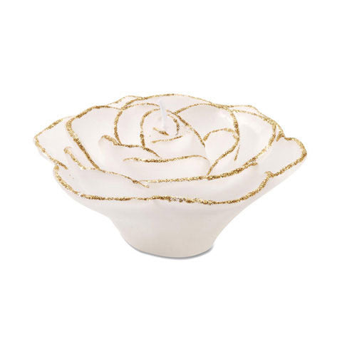 "3.75"" White Flower with Gold Trim Floating Candles. Set of 3-Unscented"