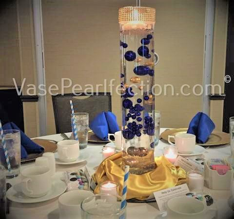 Royal Blue (Bright Navy) Pearls- No Hole Jumbo/Assorted Sizes Vase Decorations