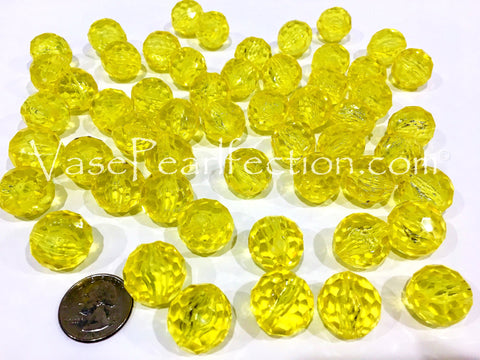 *Clearance* Yellow Gems - Round Gem Vase Decorations and Table Scatter