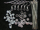3/4 Pound over 300 Pieces of Mix Gemstone & Crystal   Starter Jewelry Making Kit,  Tibetan, Silver, Ear Hooks, Wood, Free Shipping