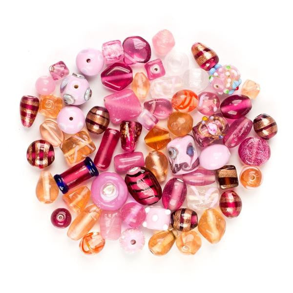 75 Grams or 30-40 Pieces of Our Pink/Amethys Collection of Lamp Work Beads  Size 8MM-16MM, Dazzled With Crystal Spacers