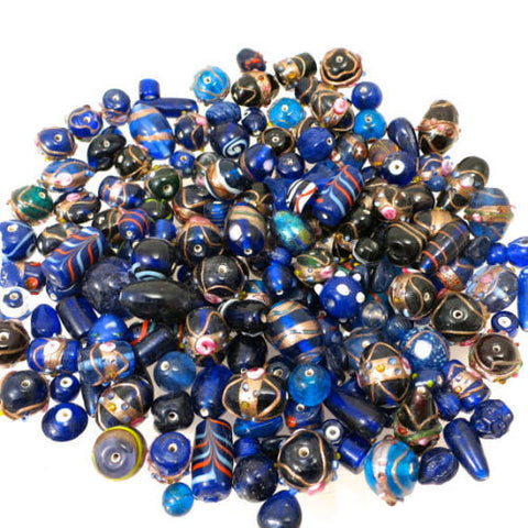 75 Grams or 30-40 Pieces of Our Blue Lagoon Collection of Lamp Work Beads  Size 8MM-16MM, Dazzled With Crystal Spacers