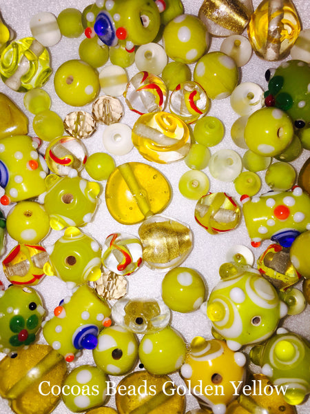 100 Grams or 40-50 Yellow/Gold Lamp Work Beads Size 8mm-20mm, Glass, Crystal , Fire Polished Beads,