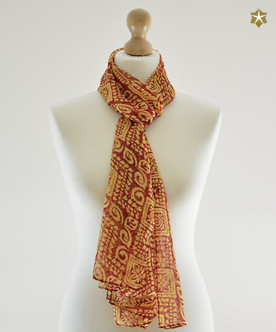 Batik Red & Yellow Chiffon Scarf