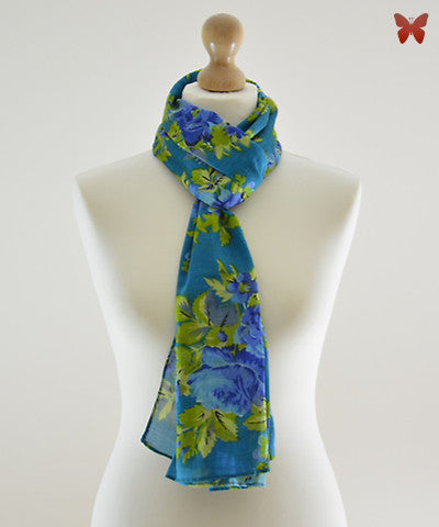 Blooming Blues Cotton Scarf