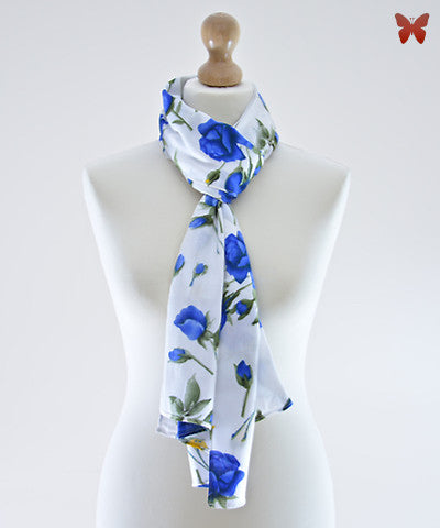 Blue Rose Cotton Scarf