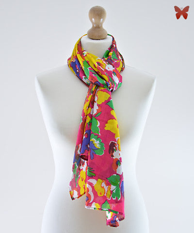 Bougainvillea Cotton Scarf