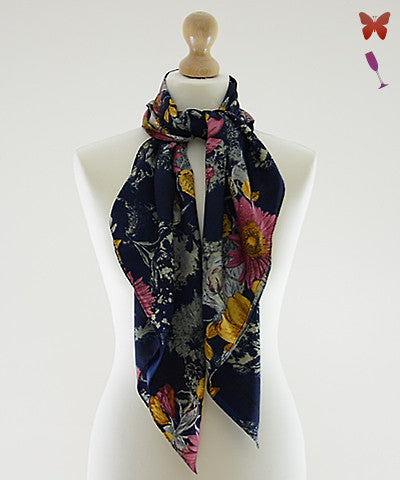 Floral Ink Square Scarf