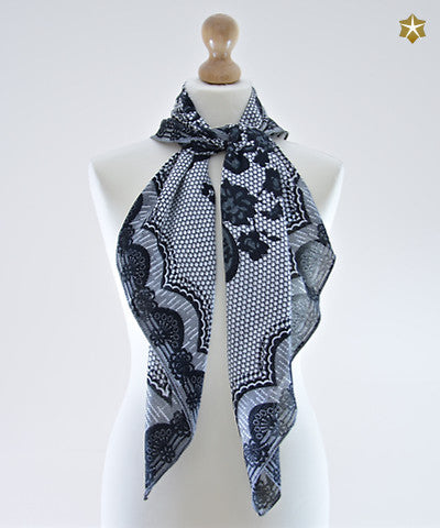 Imperial Black Cotton Scarf