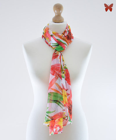 Orange Dahlia Chiffon Scarf
