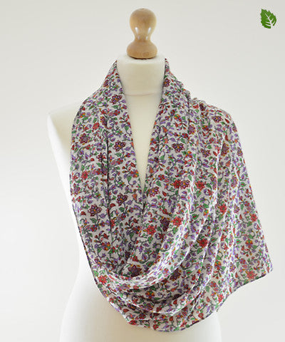 Purple Grapevine Cotton Scarf