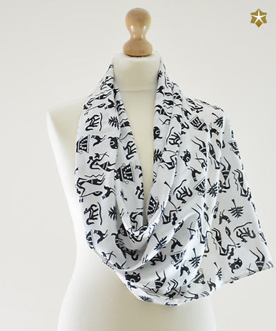 Warli painting cotton scarf silver sparrow warli painting cotton scarf thecheapjerseys Image collections