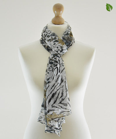 White Forest Chiffon Scarf