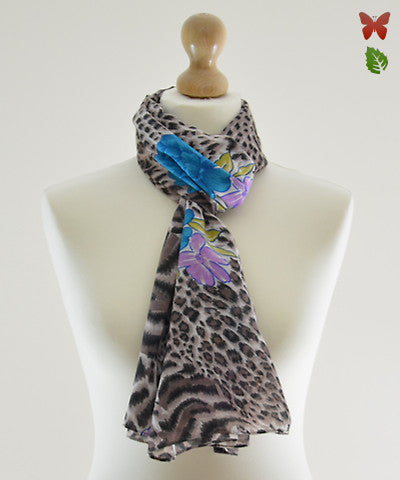 Wild Blue Cotton Scarf