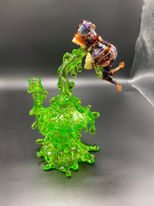Jahni Glass / Spitter #58, Recycler, Amber spitting Lime Juice