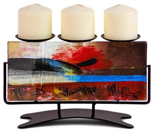 Abstract Glass Candleholder - Triple