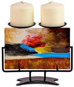 Abstract Glass Candleholder - Double