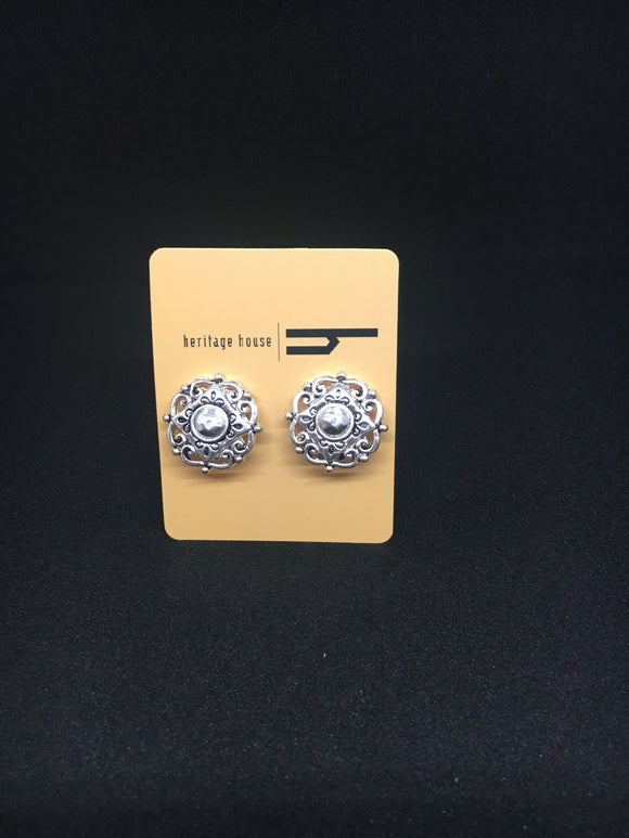 Filigrere Silver Circle Earrings (Clip On)