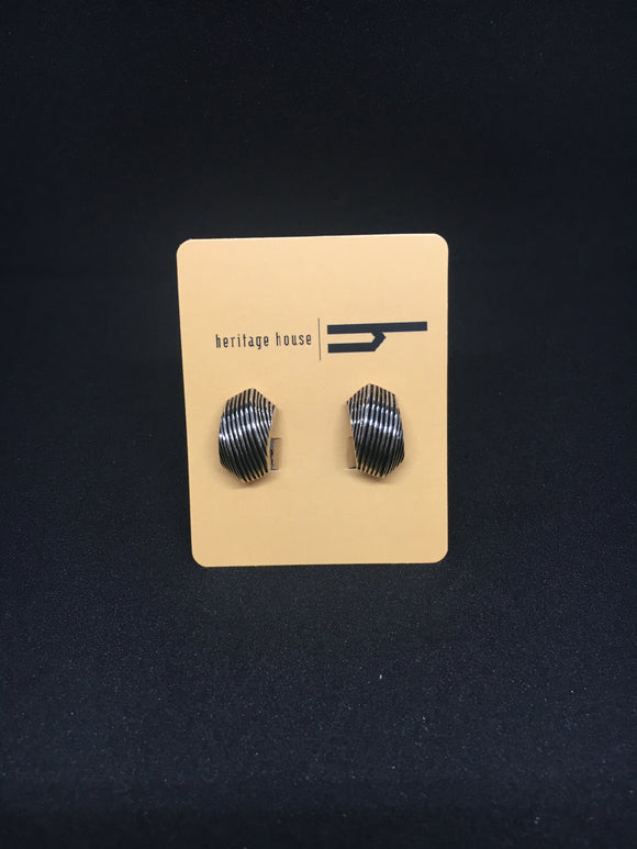 Silver and Black Earrings (Clip On)