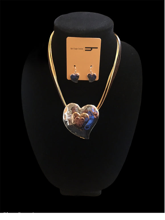 Silver, Gold and Copper Heart Necklace Set