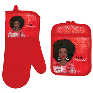 I Am Powerful Oven Mitt/Pot Holder Set