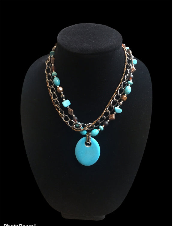 Three strand Blue Pendent Necklace