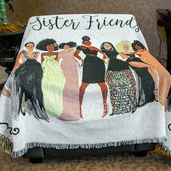 Sister Friend Tapestry Throw
