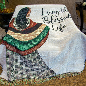 Living the Blessed Life Tapestry Throw