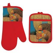 Composite of a Woman Oven Mitt and Potholder Set