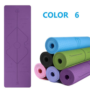 Non-Slip Yoga Mat with Position Line