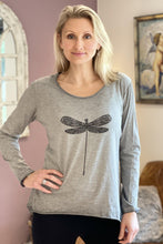Load image into Gallery viewer, Appliqué Dragonfly Long Sleeved T-Shirt - Pale Grey - LavenderLime