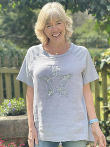 Appliqué Star Cotton And Linen T-Shirt - Silver Grey - LavenderLime