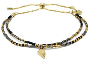 Black Gemstone Bracelet With Gold Lightning Charm - LavenderLime