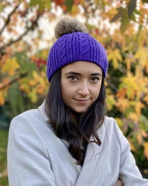 Cable Knit Pom Pom Hat -Purple - LavenderLime
