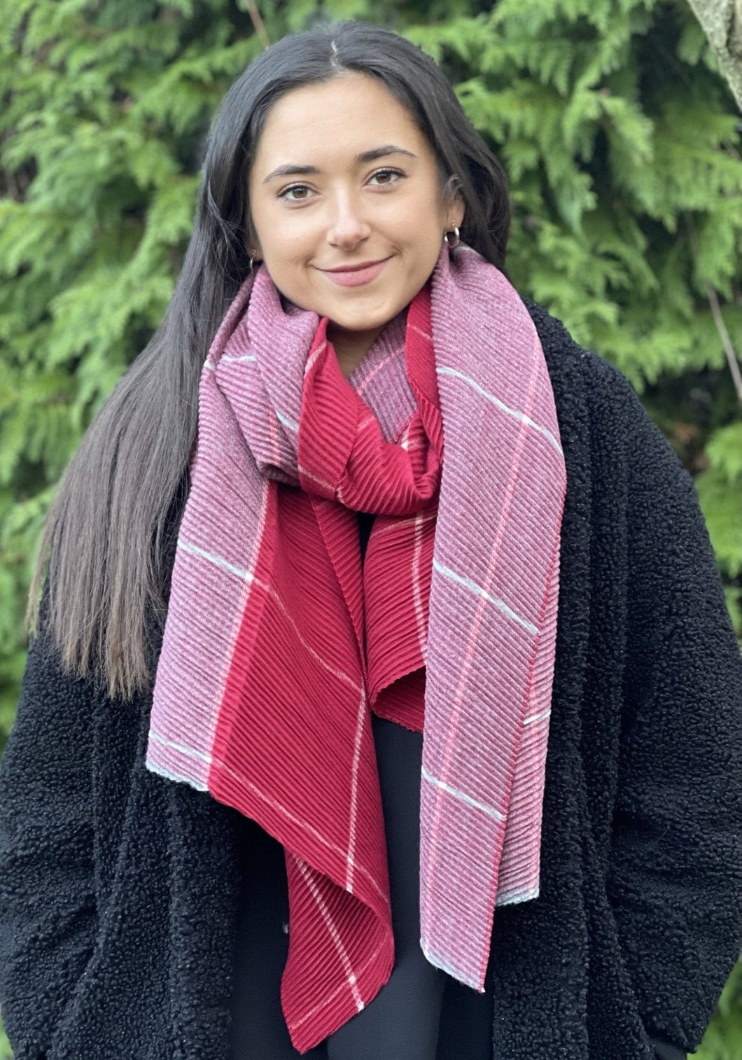 Crinkle Check Reversible Scarf - Red/Grey - LavenderLime